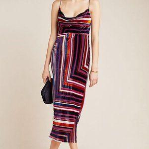 Anthropologie Striped Velvet Midi Dress (NWT)